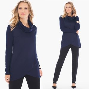 NWT Chico's Woven Cowl Neck Top Navy Blue